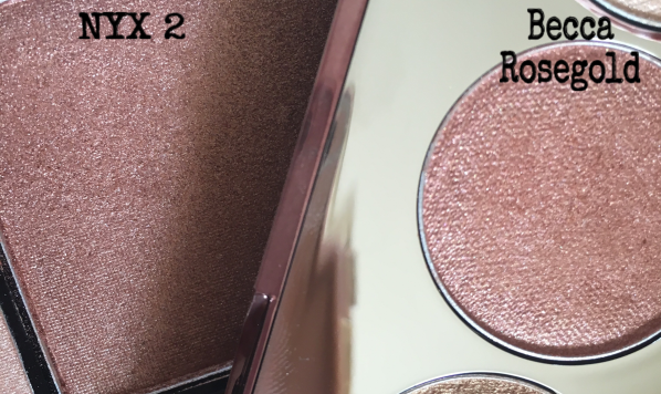 Becca Rose Gold VS NYX Dupe