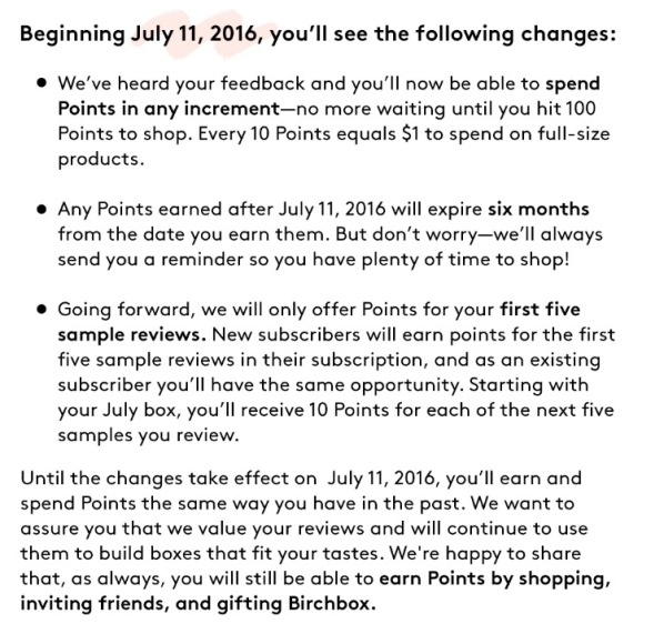 Birchbox Changes July 11, 2016